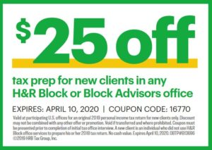 $25 off hr block
